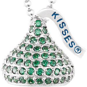 Sterling Silver August<br> HERSHEYS KISSES Aubic<br> Zirconia 16-1