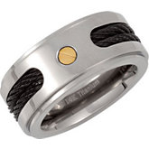 Titanium Band with Black Cable Inlay and 14kt Yellow Screws