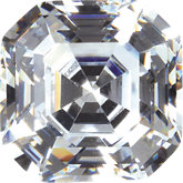Asscher Lab Created White Cubic Zirconia