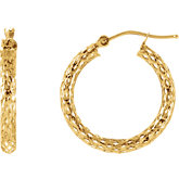 Pierced Diamond Cut Hoop Earrings
