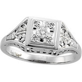 1/6 ct tw Diamond Filigree Ring