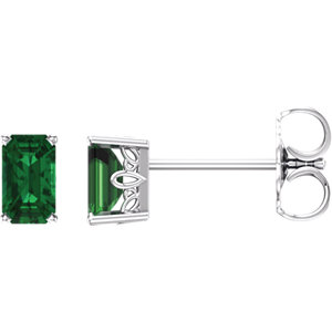 14kt White Ahatham®<br> Areated Emerald Earrings
