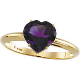 Heart-Shaped Genuine Amethyst Ring