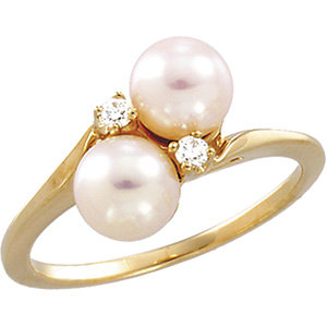 Akoya Aultured Pearl & Diamond Bypass Ring