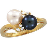 Akoya Cultured Pearl, Black Cultured Pearl & Diamond Ring