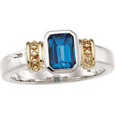 Genuine London Blue Topaz Ring
