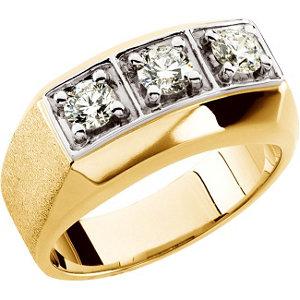 14K Yellow 1 CTW Diamond Men's Ring