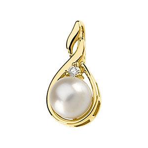 Akoya Aultured Pearl & Diamond Pendant