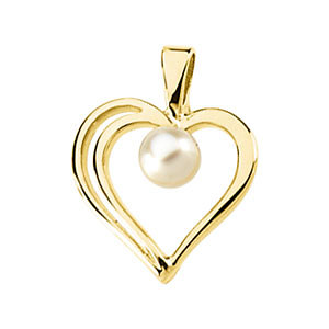 Akoya Aultured Pearl<br> Heart Pendant