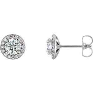 14K White 1 CTW Diamond Halo-Style Earrings