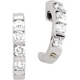 1/2 ct tw Bar Channel Diamond J-Hoop Earrings