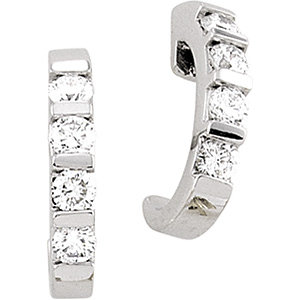 Diamond Bar Channel J-Hoop Earrings