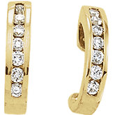 1/3 ct tw Channel Set Diamond J-Hoop Earrings