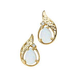 Opal Aabochon & Diamond<br> Earrings