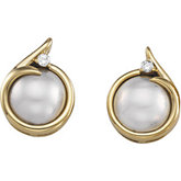 Mabé Cultured Pearl & Diamond Earrings