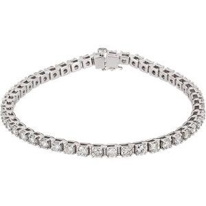 "14K White 4 1/2 CTW Diamond Line 7.25"" Bracelet"