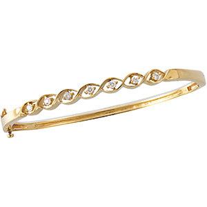 14K Yellow 1/4 CTW Diamond Bangle Bracelet