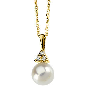 Akoya Aultured Pearl &<br> Diamond Necklace