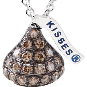 HERSHEY'S KISSES Flat Back Brown Diamond Necklace