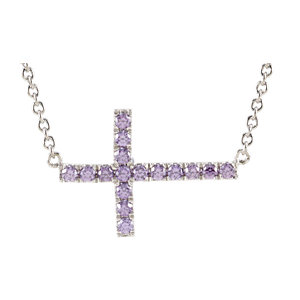 "Sterling Silver Purple Cubic Zirconia Sideways Cross 18"" Necklace"