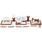 White Leatherette Earring/Ring Clip Display with Wood Trim Accent