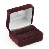 Soft-Suede Claret Double Ring Box