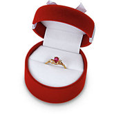 Red Flocked Ring Box With Bow