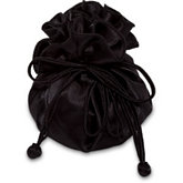 Black Round Satin Pouch