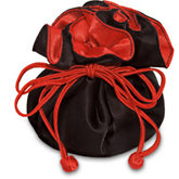 Black/Red Round Satin Pouch