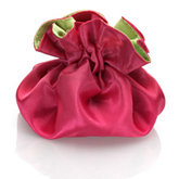 Round Satin Pouch with Drawstring Lime/Hot Pink