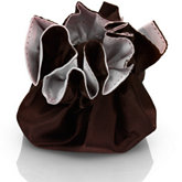 Round Satin Pouch with Drawstring Pink/Dark Brown