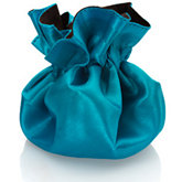 Round Satin Pouch with Drawstring Dark Brown/Turquoise