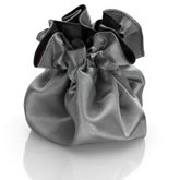 Round Satin Pouch with Drawstring Gray/Silver