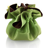Round Satin Pouch with Drawstring Dark Brown/Lime