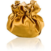 Round Satin Pouch with Drawstring Gold/Champagne
