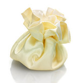 Round Satin Pouch with Drawstring White/Ivory