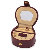 Mini Leatherette Burgundy Jewelry Case With Beige Interior