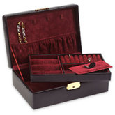 Black Leatherette Jewelry Case With Burgundy Interior