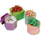 Plastic Frosted Metallic Box With Star Bow Pack of 48