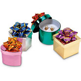 Plastic Shiny Metallic Box With Star Bow Pack of 48