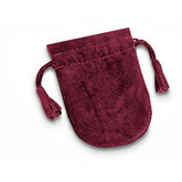 Burgundy Soft Suede Pouches With Tassel