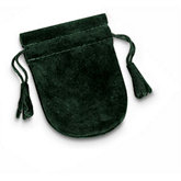 Hunter Green Soft Suede Pouches With Tassel
