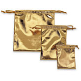 Shiny Lamé Gold Pouches