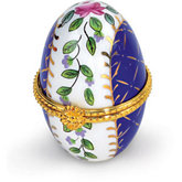 Small Egg Shaped Porcelain Hinged Box