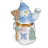 Snowman Shaped Porcelain Hinged Box