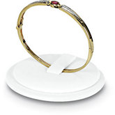 White Leatherette Single Bangle Bracelet Holder with Tab