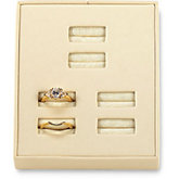 Beige Leatherette 3 Duo Ring Square Corner Tray