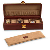 Brown Leather Watch Case For 5 Watches