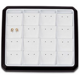 16 Pair Stud Earring Black Stackable Tray