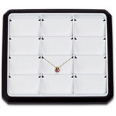 12 Pendant Stackable Tray, Black with White Pads